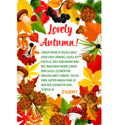 autumn leaf and mushroom poster template design vector image vector image