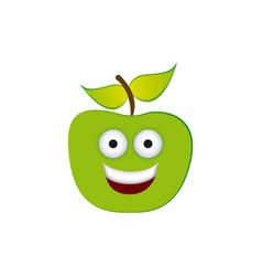 color green kawaii fruit apple happy icon vector image vector image