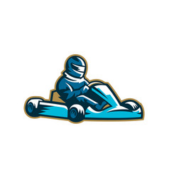 colorful karting logo moto sport extreme racing vector image