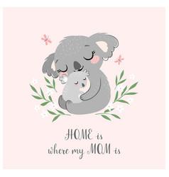 Cute koala mom and baby vector