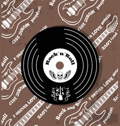 rock n roll vinyl and skull vector image vector image