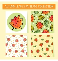 Seamless hand drawn autumn leaves patterns set vector image vector image