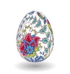 Easter Egg with hand draw ornate floral pattern vector image