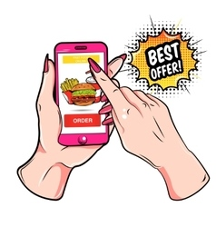 Fast Food Online Composition vector image vector image