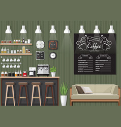 green coffee shop interior vector image vector image