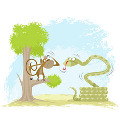 monkey hangs on snake vector image