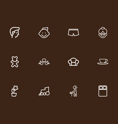 set of 12 editable relatives outline icons vector image vector image