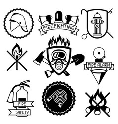 set of badges and labels with firefighting items vector image