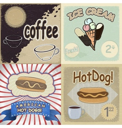 Set of vintage cards with the image of fast food vector image vector image