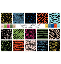 spring seamless pattern set in trend colors vector image