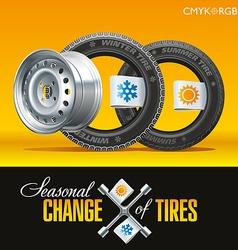 Tire Change Season One Wheel vector image vector image