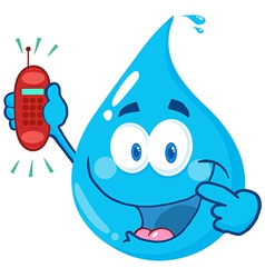Water Drop Cartoon Character Holding A Telephone vector image vector image