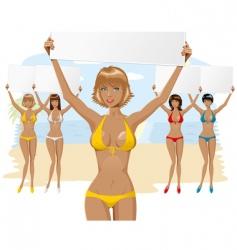Bikini girl with empty board vector image vector image