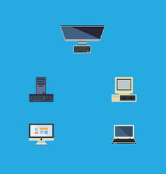 flat icon laptop set of display computer vector image