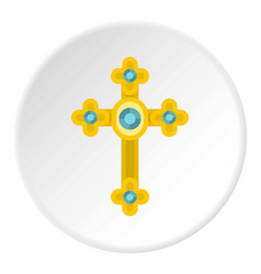 Golden cross with diamonds icon circle vector