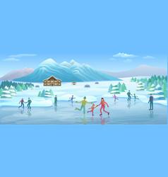 mountain winter recreation template vector image vector image