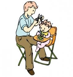 my dad cut my hair vector image vector image