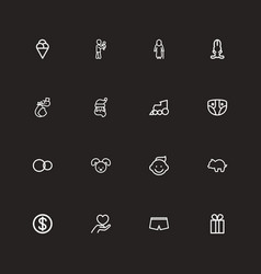 set of 16 editable family outline icons includes vector image vector image