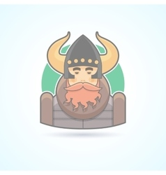 Viking sea king scandinavian man icon vector image