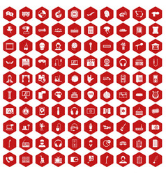 100 microphone icons hexagon red vector