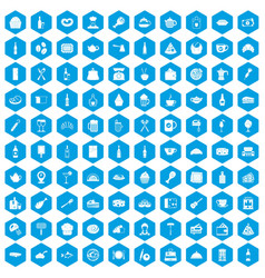 100 restaurant icons set blue vector