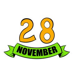 28 november date icon cartoon vector image