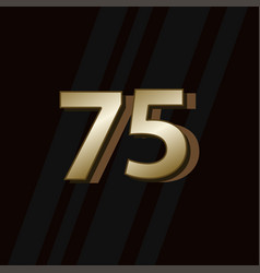 75 years anniversary gold elegant number template vector