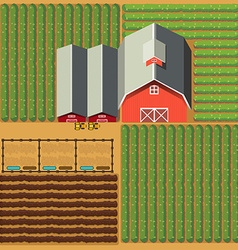 Aerial view of farmland with barns and crops vector