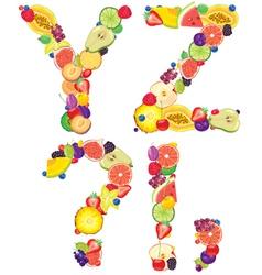 Alphabet from fruit XZ vector image