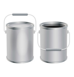 Blank paint buckets mockup realistic style vector