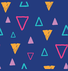 Blue fun grunge triangles on repeat pattern vector