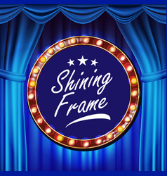 blue theater curtain with gold frame blue vector image