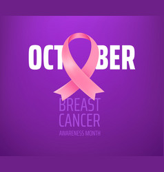 breast cancer awareness month card with pink silk vector image