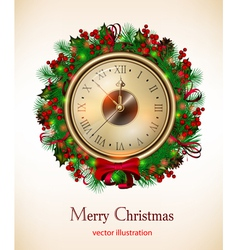 Bright christmas background with clock and christm vector