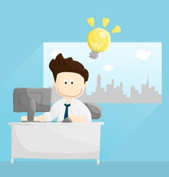 Bright work time salary man cartoon lifestyle vector