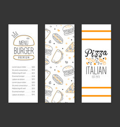 burger and pizza menu premium template tasty fast vector image
