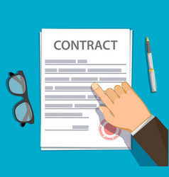 Businessman points a finger at a paper contract vector