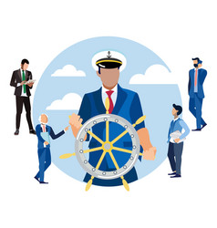 captain at helm head finance in vector image