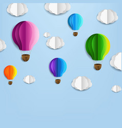 card with air balloons and cloud vector image
