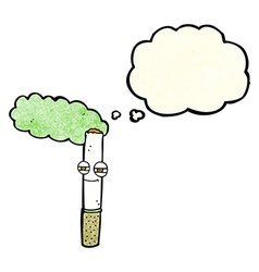 Cartoon happy cigarette with thought bubble vector