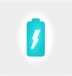 charging battery icon with lightning flat vector image