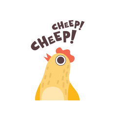 Chick cheeping cute cartoon bird making cheep vector