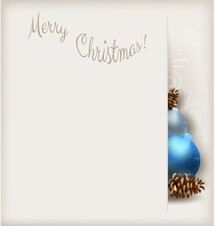 Christmas card blue baubles vector
