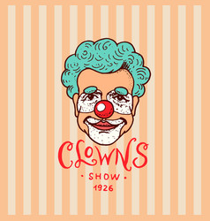 Circus clown badge retro funnyman vintage vector