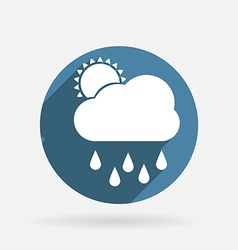 Cloud rain Circle blue icon with shadow vector