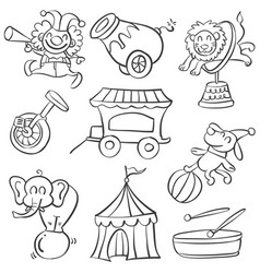 collection elementcircus doodle style vector image
