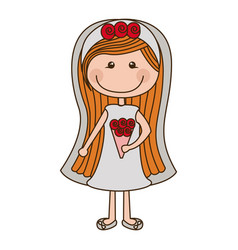 colorful caricature woman in wedding dress with vector image