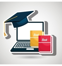 computer and books isolated icon design vector image