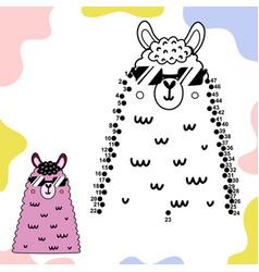 Connect dots and draw a cute llama vector