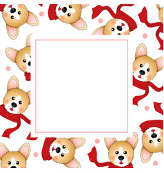 corgi with red scarf on white banner card vector image